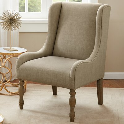 Pando Turned Leg Wingback Chair Finish: Birch, Color: Cream