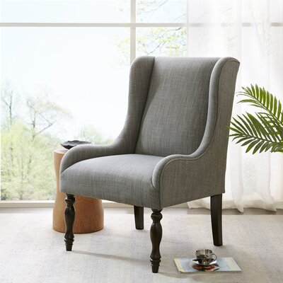 Pando Turned Leg Wingback Chair Finish: Morocco, Color: Slate