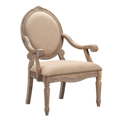 Panek Oval Back Exposed Wood Armchair Color: Beige