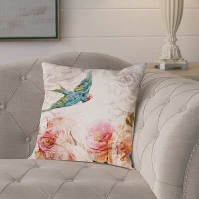 Bird Singing in the Evening Poly-linen Throw Pillow