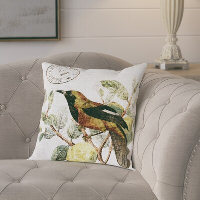 Bird in the Tree Poly-linen Throw Pillow