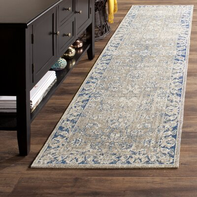 Palaiseur Taupe/Blue Area Rug Rug Size: Runner 22 x 8