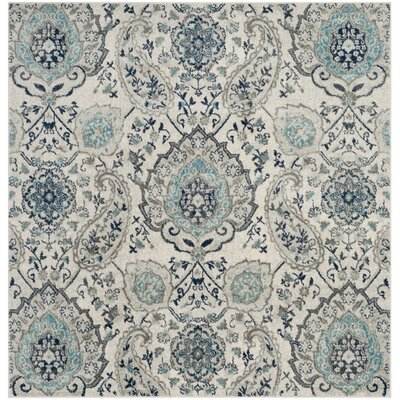 Grieve Cream/Light Gray Area Rug Rug Size: Square 9