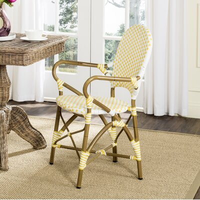 Papke Stacking Arm Chair Fabric: Yellow / White