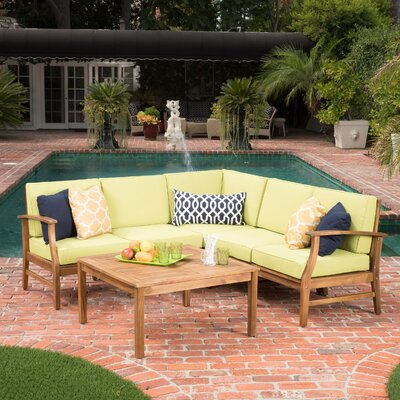 Pardue Wooden 6 Piece Seating Group Fabric: Green