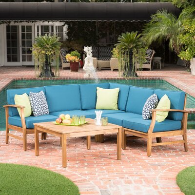 Pardue Wooden 6 Piece Seating Group Fabric: Blue
