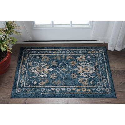 Clementine Traditional Indigo Area Rug Rug Size: 2 x 3