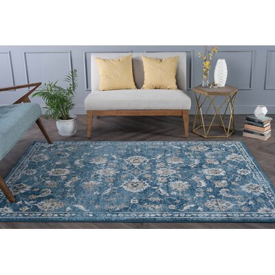 Clementine Traditional Indigo Area Rug Rug Size: 710 x 103