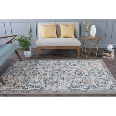 Clementine Transitional Cream Area Rug Rug Size: 53 x 73