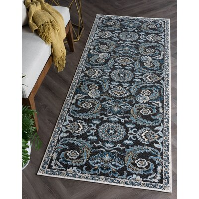 Owings Transitional Charcoal Area Rug Rug Size: Runner 27 x 73