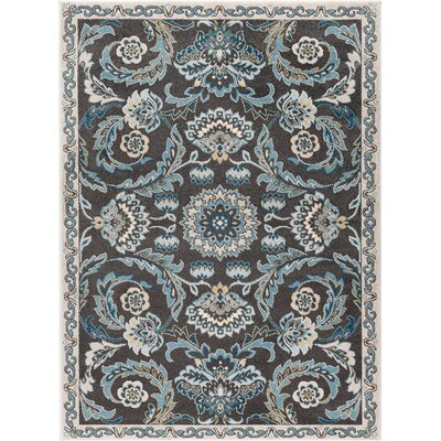 Clementine Transitional Charcoal Area Rug Rug Size: 53 x 73