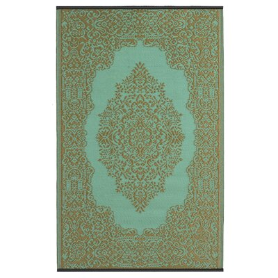 Jennifer Green/Brown Indoor/Outdoor Area Rug Rug Size: 5 x 8