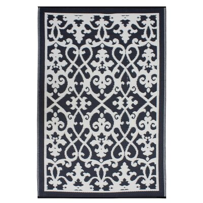 Parkhurst Cream & Black Indoor/Outdoor Area Rug Rug Size: 5 x 8