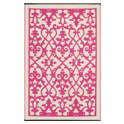 Parkhurst Cream & Pink Indoor/Outdoor Area Rug Rug Size: 4 x 6