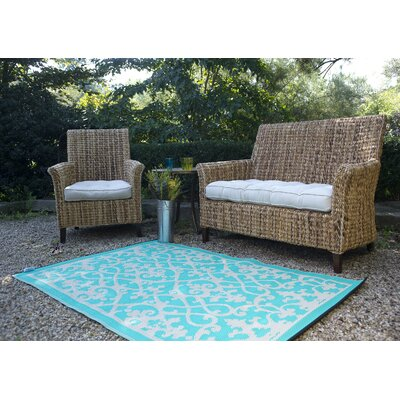 Parkhurst Cream & Turquoise Indoor/Outdoor Area Rug Rug Size: 5 x 8