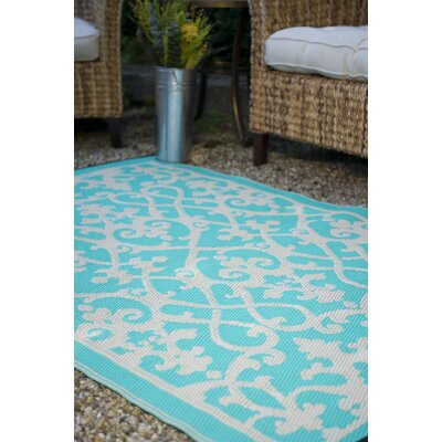 Fontayne Cream & Turquoise Indoor/Outdoor Area Rug Rug Size: Rectangle 5 x 8