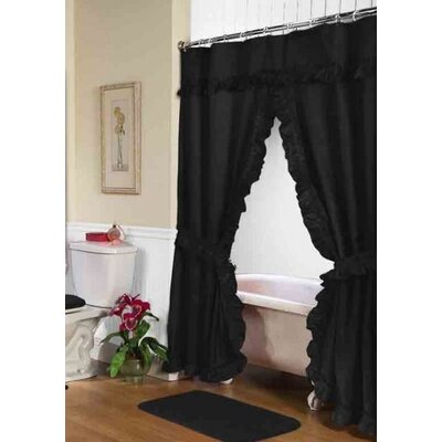 Biermann Double Swag Shower Curtain Color: Black