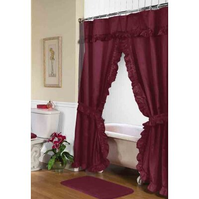 Biermann Double Swag Shower Curtain Color: Burgundy