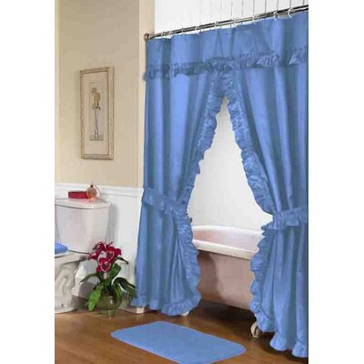 Biermann Double Swag Shower Curtain Color: Light Blue