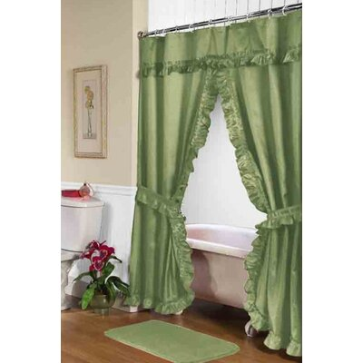 Biermann Double Swag Shower Curtain Color: Sage