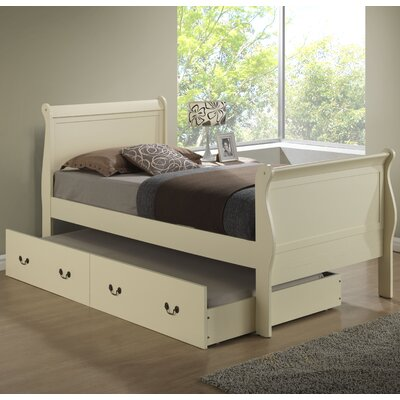Corbeil Sleigh Bed with Trundle Size: Twin, Finish: Light Oak