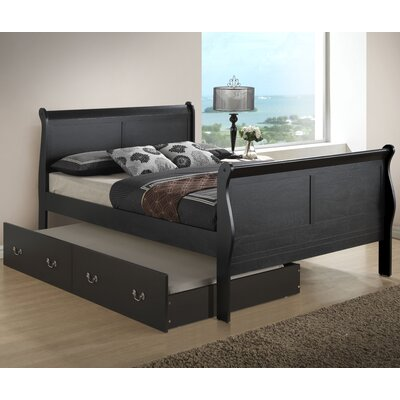Corbeil Sleigh Bed with Trundle Size: Twin, Color: Cappuccino