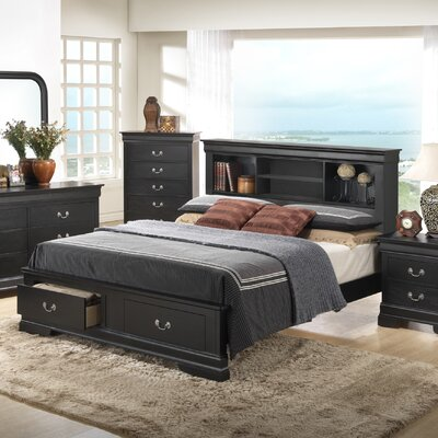 Corbeil Storage Panel Bed Finish: Black, Size: Queen