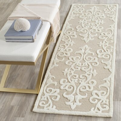 Talence Hand-Tufted Sand/Ivory Area Rug Rug Size: Runner 23 x 9