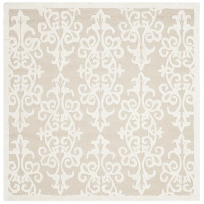 Dickinson Hand-Tufted Sand/Ivory Area Rug Rug Size: Square 5
