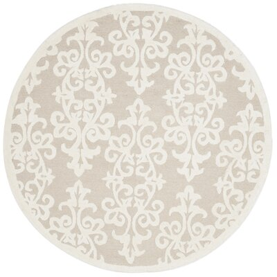 Dickinson Hand-Tufted Sand/Ivory Area Rug Rug Size: Round 5