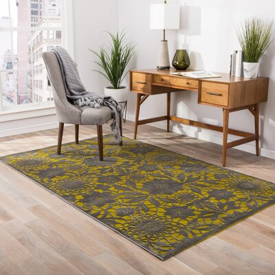 Calixta Green/Gray Area Rug Rug Size: 9 x 12