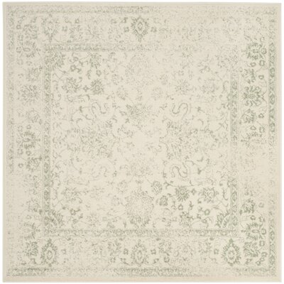 Issa Ivory/Sage Area Rug Rug Size: Square 8