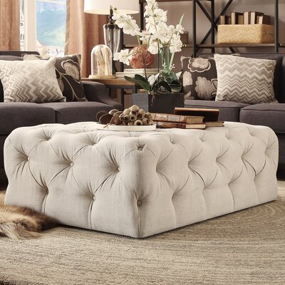 Bourges Rectangular Tufted Cocktail Ottoman Upholstery: Beige