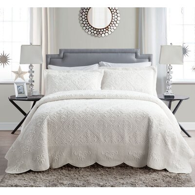 Keira 3 Piece Comforter Set Size: Full, Color: Ivory