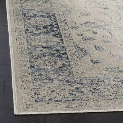 Malakoff Stone/Blue Area Rug Rug Size: 53 x 76