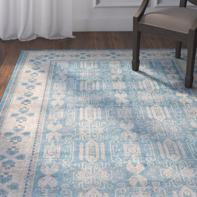 Jaiden Blue/Brown Area Rug Rug Size: Round 8