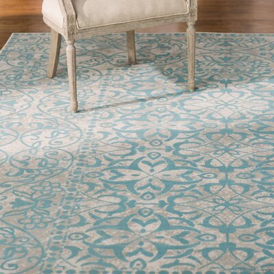 Velay Blue Area Rug Rug size: Rectangle 28 x 5