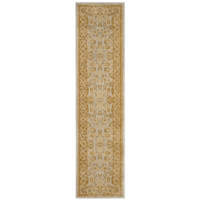 Erwin Light Blue/Gold Area Rug Rug Size: Runner 22 x 8