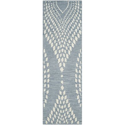 Smith Hand-Tufted Blue/Ivory Area Rug Rug Size: Runner 23 x 7