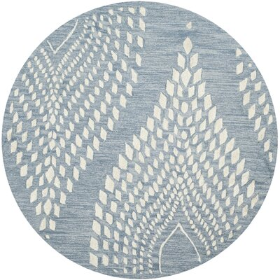 Smith Hand-Tufted Blue/Ivory Area Rug Rug Size: Round 5