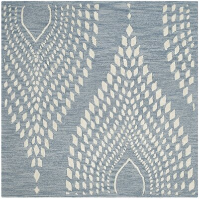 Smith Hand-Tufted Blue/Ivory Area Rug Rug Size: Square 5