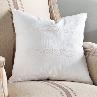 Juliana 100% Cotton Throw Pillow Color: White