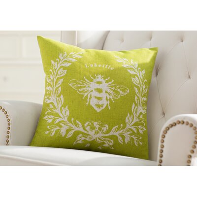 Clematite Linen Bee Throw Pillow Color: Chartreuse Green