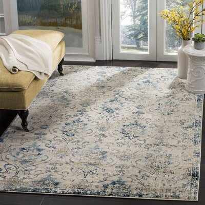 Montelimar Beige/Navy Area Rug Rug Size: Rectangle 51 x 76