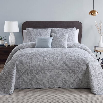 Keira 5 Piece Bed in a Bag Set Color: Gray, Size: Queen