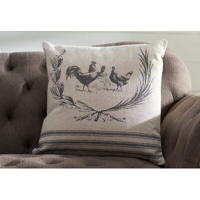 Hen Lithograph Cotton Pillow Cover Color: Natural Gray