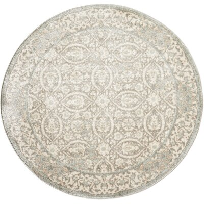 Angelique Gray and Ivory Area Rug Rug Size: Round 53