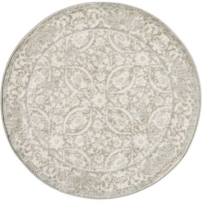 Angelique Gray and Ivory Area Rug Rug Size: Round 34