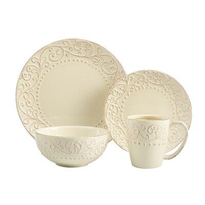 Yaelle Leaf Round 16 Piece Dinnerware Set, Service for 4 Color: Red/Cream