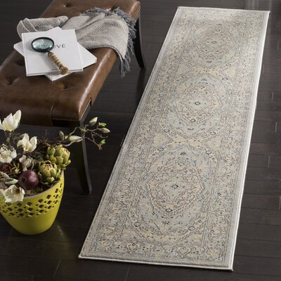 Montelimar Light Gray/Cream Area Rug Rug Size: Runner 2 x 8